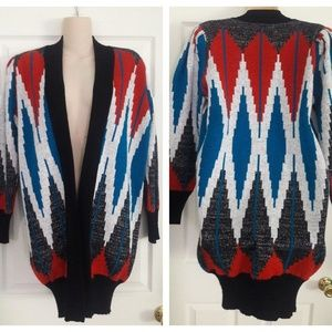 Vintage 80s Inca Imports Open Front Cardigan